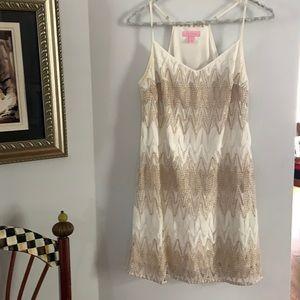 Lilly Pulitzer Dusk Lace Slip Dress White/Gold